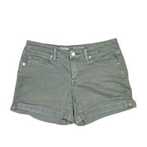 Massimo Size 4 Sage Mid-Rise Midi Denim Shorts
